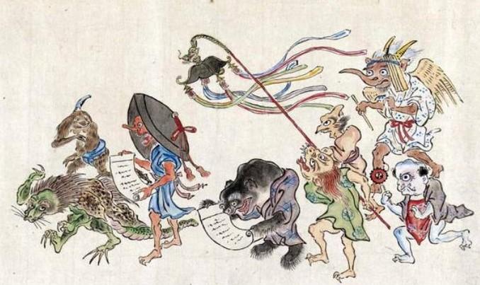 Estampado japonés con monstruos