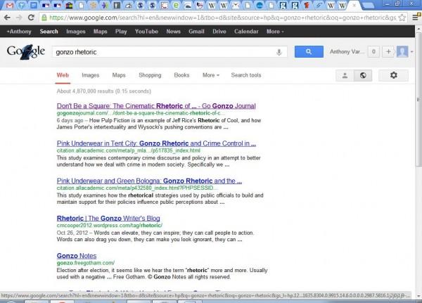 Gonzo Rhetoric Google Search