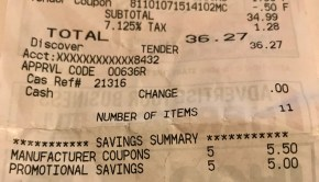 Clipping Coupons Receipt