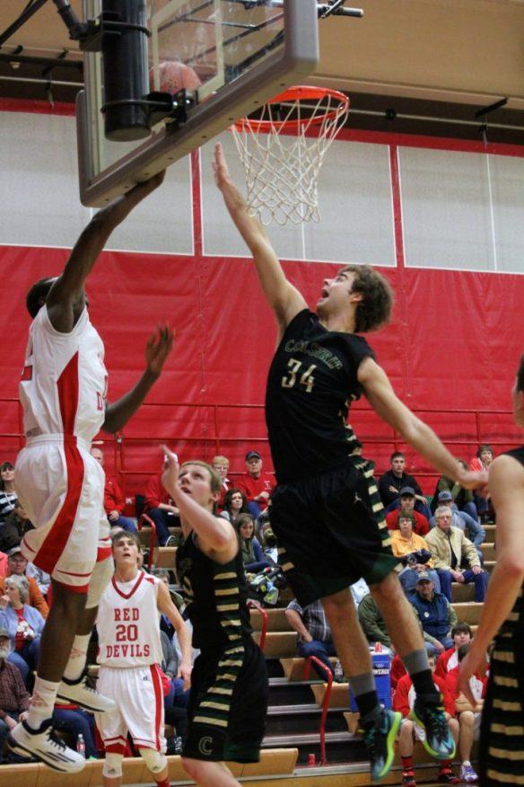 Dawson County High School Boys Basketball Stefan Stubbs Layup. Jan. 2015. Copyright Go Gonzo Journal.
