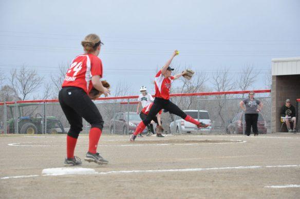 Dawson County High School Softball Pitch April 11, 2015. Copyright Go Gonzo Journal.