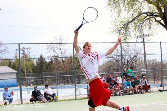 Dawson County High School Tennis Bradley Reinhart Reaches, May 15, 2014
