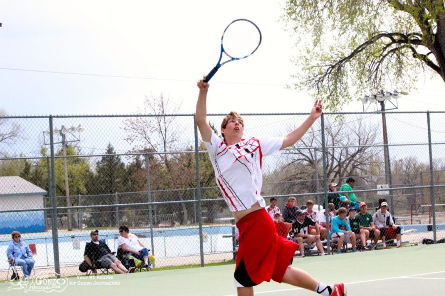 Dawson County High School Tennis Bradley Reinhart Reaches, May 15, 2014