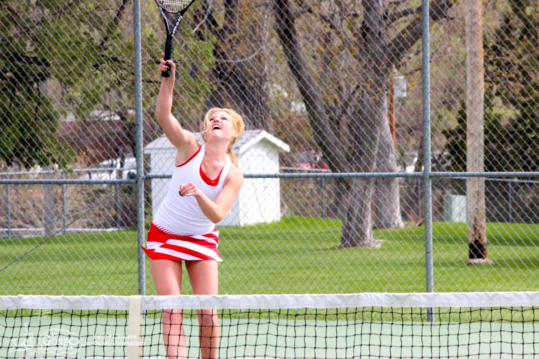 Dawson County High School Girls Tennis Marenah Crockett Overhead, May 15, 2014
