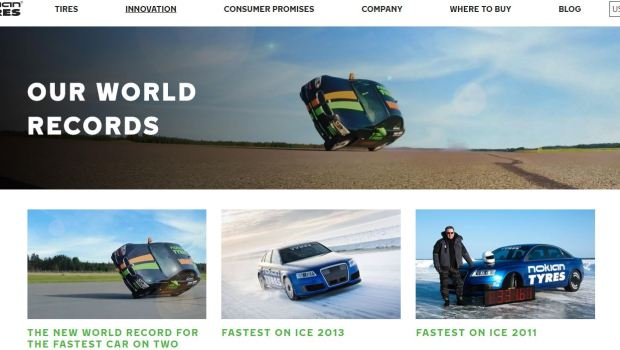 Nokian Tyres World Records Website Screenshot