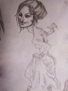 Penelope Cruz caricature sketch