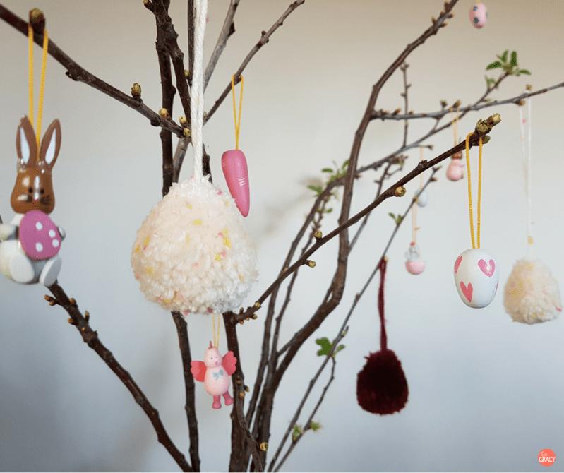 DIY pompom paaseieren paasdecoratie