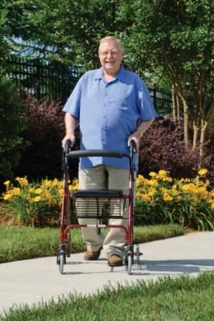 rollator lumex graham field man sidewalk