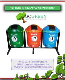 jual tempat sampah fiber bulat 3 in 1 kapasitas 50 liter tiang geser, harga tong sampah fiberglass 3 pilah, 3 warna, 40 l, 60, 70, 80 di surabaya bandung dan jakarta