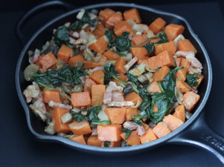 Sweet potato breakfast hash in a skillet