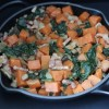 Sweet potato breakfast hash in a skillet