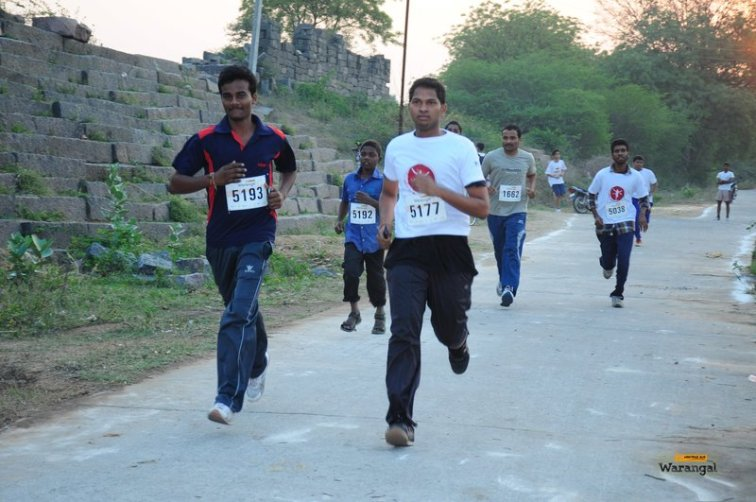 Runners on the 5k route along the rock fortification