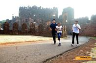 Runners re-entering the 500 year old Bidar Fort