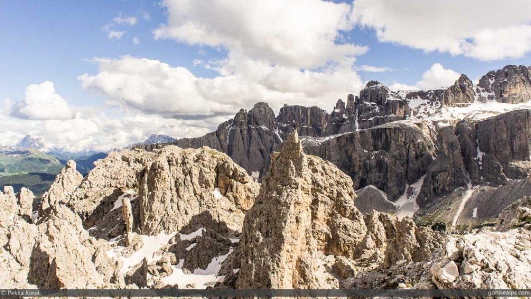 Unique Dolomites landscape above Passo Gardena