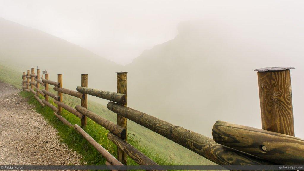 Passo Pordoi to Malga Ciapela, Marmolada Behind Clouds