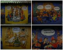 Holiday murals on the sides of the market stalls. You've got your banya (sauna), Red Square fireworks, the big feast and horovod dancing to a song about a Yolochka.