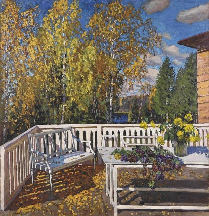 October: Terrace in Autumn, by Stanislav Zhukovsky.