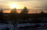 Wintry sunset, as we race from Moscow to Saint Petersburg.