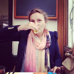 Doing a shot of Elixir d'Anvers