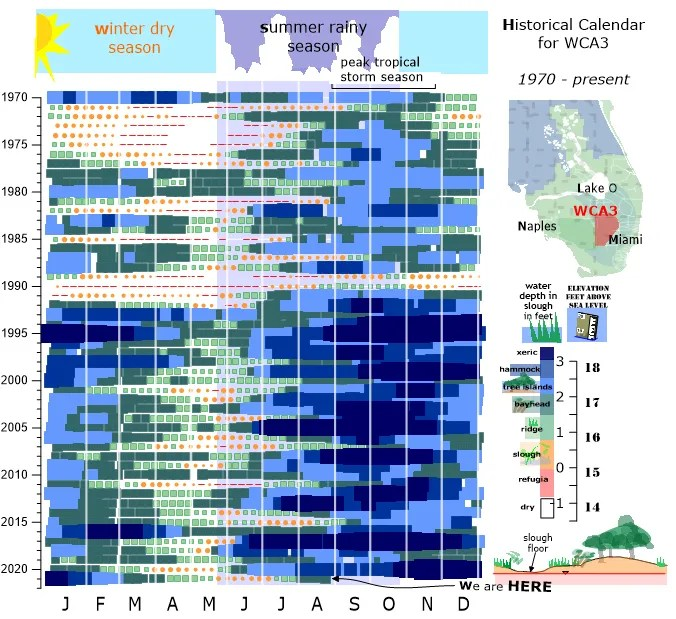 Calendar chart of water depth in WCA3A of the Everglades