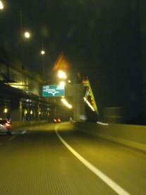 Going down the expressway leaving the airport..