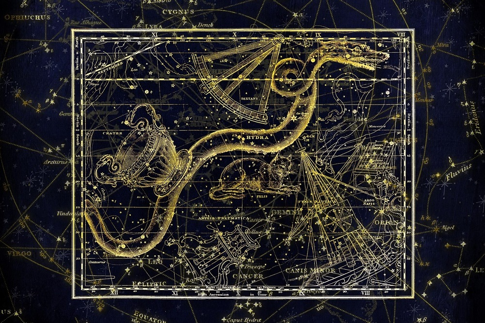 An old-style drawing of the constellation Hydra against a dark background