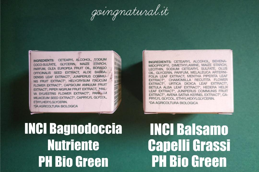 PH Bio Green INCI bagnodoccia e balsamo