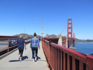 It's fairly slow going on the path over the Golden Gate Bridge, but that's okay © 2015 Karen Rubin/news-photos-features.com