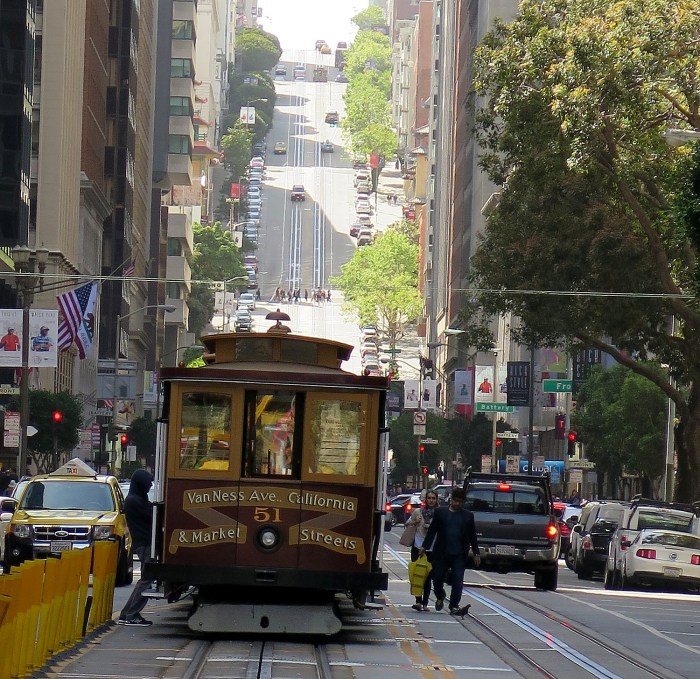 We cap off the Fern Hill Walking Tour with a ride on the California cable car - even when the city wanted to replace them with street cars, the cable cars remained the best to tackle San Francisco's hills © 2015 Karen Rubin/news-photos-features.com