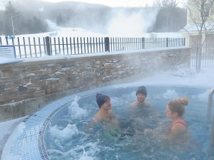 It's 3 degrees but enjoying the hot tub at Adams House condo at Jackson Gore, Okemo Mountain © 2016 Karen Rubin/news-photos-features.com