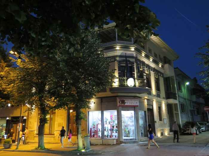 Nighttime in Korca © 2016 Karen Rubin/goingplacesfarandnear.com