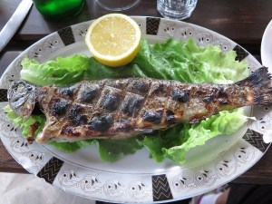 Fresh grilled trout from Farma Sotira's own trout farm © 2016 Karen Rubin/goingplacesfarandnear.com