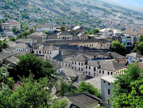 "Gjirokaster is known as the ""city of stone roofs"" © 2016 Karen Rubin/goingplacesfarandnear.com"