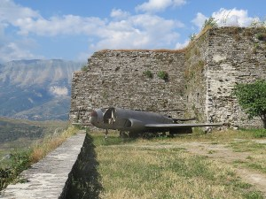 US plane on display at Gjirokaster  Castle military museum © 2016 Karen Rubin/goingplacesfarandnear.com