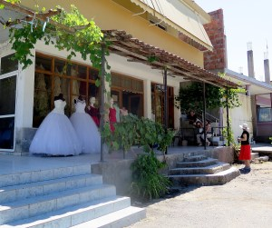 Bridal shop in a village in Albania © 2016 Karen Rubin/goingplacesfarandnear.com