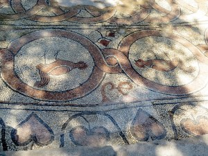 A rare look at the mosaics on the Baptistry floor at Butrint © 2016 Karen Rubin/goingplacesfarandnear.com