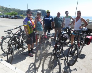 Our Biketours.com group says goodbye to Bato, the van driver, and our bikes at the end of the cycling portion of our Albania trip © 2016 Karen Rubin/goingplacesfarandnear.com