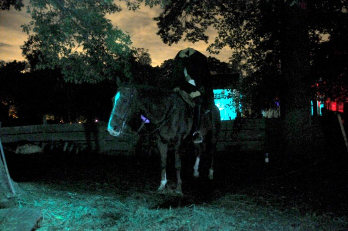 The Headless Horseman comes out of the shadows at Horseman's Hollow, at Philipsburg Manor in Sleepy Hollow, NY © 2016 Karen Rubin/goingplacesfarandnear.com