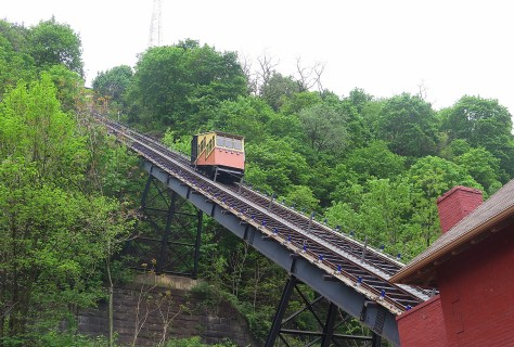 The Monongahela Incline originally opened in 1870 (refurbished in 2015) and is the nation's oldest cable car operation © 2016 Karen Rubin/goingplacesfarandnear.com