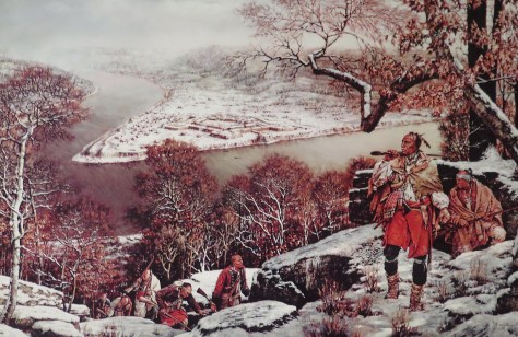 Illustration of Indians on what is now Mount Washington, with Fort Pitt below.