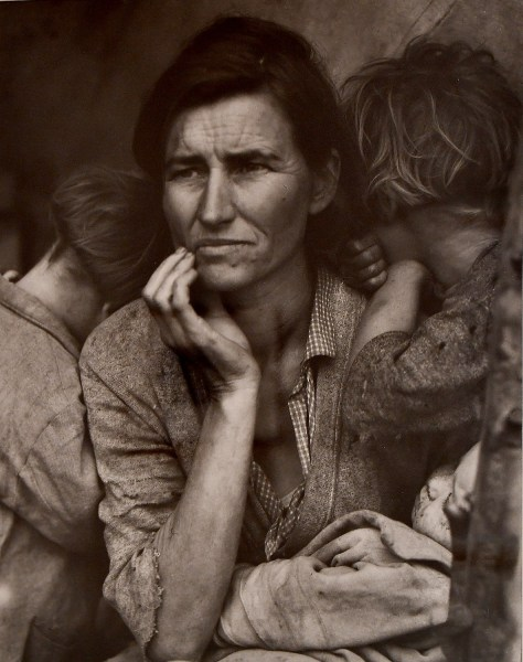 """One of the most famous photos of all time, Dorothea Lange's """"Migrant Mother, Nipomo California"""" (1936) is on view in """"Light Works: 100 Years of Photos"""" at NCMA © 2016 Karen Rubin/goingplacesfarandnear.com"""