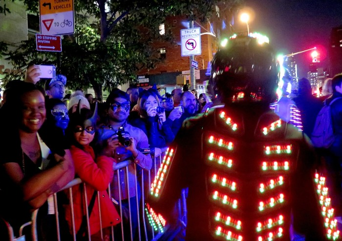 Fantastical figures delight parade watchers on 6th Avenue. Tens of thousands turned out to watch the 43rd Annual Village Halloween Parade © 2016 Karen Rubin/goingplacesfarandnear.com