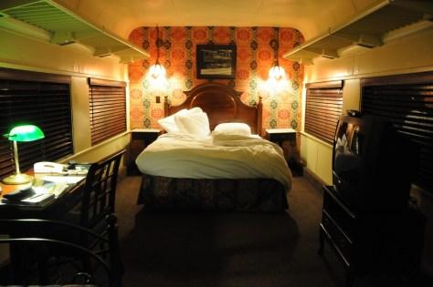 Historic train car turned into an enchanting sleeping room at the Chattanooga Choo Choo, Chattanooga, Tennessee © 2016 Karen Rubin/goingplacesfarandnear.com