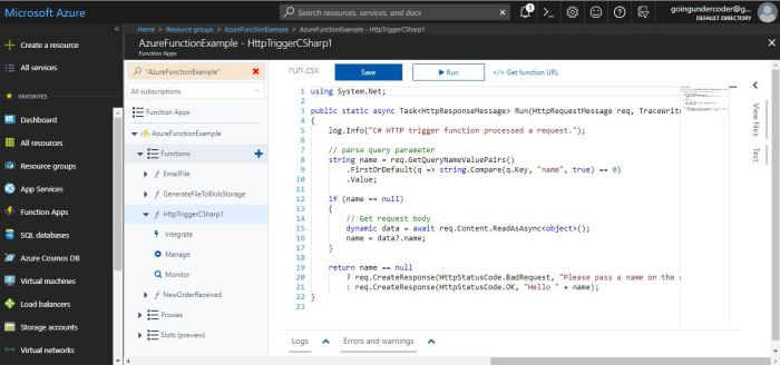 Azure Functions Tutorial Create Function