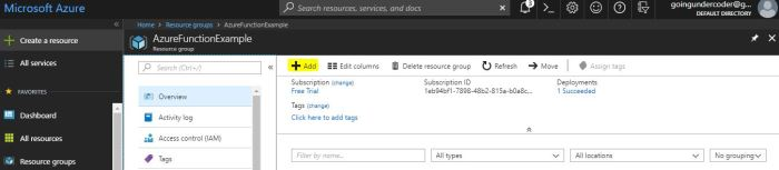 Azure Functions Tutorial Resource Group