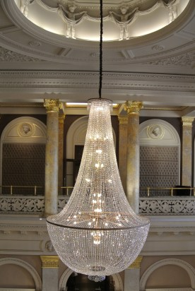 Lobby chandelier - view from balcony