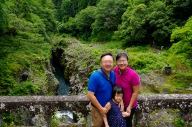 Walking down into Takachiho Gorge