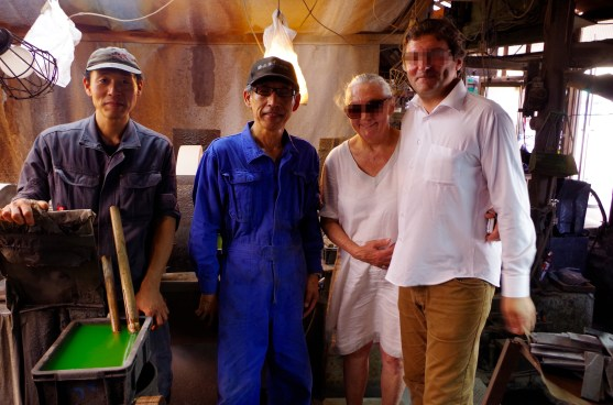 With Mr Moritaka (blue), the master of knife making