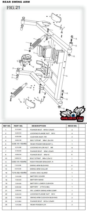 RR LOWER SWING ARM COMP, for TrailMaster 150 XRS Buggy Go Kart