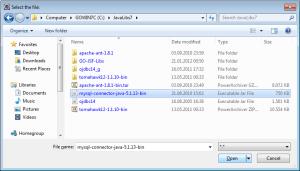 Indicating the file path of MySQL JDBC driver library (jar)